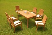 7-piece Outdoor Teak Dining Set 71andrdquo Rectangle Table 6 Stacking Arm Chairs Goa