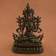 Hand Carved 13.5 White Tara / Dolkar Copper Statue For Alter From Patan Nepal