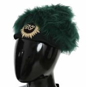 Dolce And Gabbana Hat Green Fur Dg Logo Embroidered Cloche Cap S. 56 / S Rrp 1630