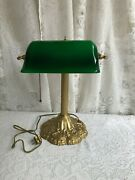 Vintage Bankers Lamp Green Duck Bill Glass Shade
