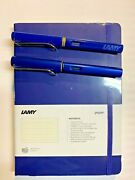 Lamy Safari And Al Star Fountain Pen Bundle With Official Lamy Notebook Blue