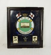 Circa 1932 Framed Painting On Glass - Hms Queen Elizabeth With Royal Signatures