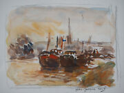 Jean-jacques Rene Barges In Rouen - Watercolour Original Signed Single Frame
