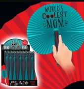 Lot/12 Worlds Coolest Mom Paper Hand Fans Plastic Chinese Style Folding