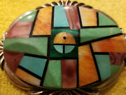 Frank Yellowhorse 1970 Sterling Turquoise Belt Buckle Inlayed Rare Rare Nos