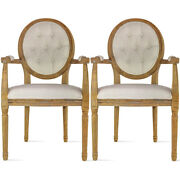 Set Of 2 Vintage Antique Modern Farmhouse Solid Wood Dining Arm Chair