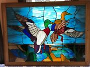 Two Mallard Ducks Stained Glass Panel In Wooden Frame - Postal Stamp Inspired