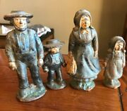 Vtg Cast Iron Amish Family Figures Mother Father Boy Girl Baby 5 Pieces