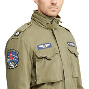 Polo Men Military Us Army M-65 Patched Officer Soldier Field Jacket