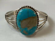 Native American Navajo Handmade Number 8 Turquoise Sterling Silver Cuff Bracelet