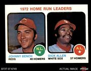 1973 Topps 62 Johnny Bench / Rich Allen - Hr Leaders Reds / White Sox 8 - Nm/mt