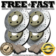 J0766 Fit 2009 2010 Ford Mustang Gt Drilled Brake Rotors Ceramic Pads F+r Gold