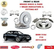 For Bmw 520d 520i F10 Front And Rear Brake Pads Discs Fitting Kit Wear Indicators