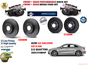 For Audi A3 S3 2.0 Berlina 13- Front And Rear Performance Brake Disc Set+pads Kit