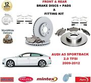 For Audi A5 Hatch 2.0 Tfsi 2009-2012 Front + Rear Brake Discs Pads + Fitting Kit