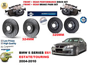 For Bmw 5 E61 Estate 04-10 Front Rear Performance Drilled Brake Discs + Pads Kit
