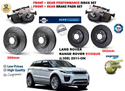 For Rr Evoque L358 2011-on Front Rear Performance Drilled Brake Discs + Pads Kit