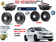 For Clio Iii 2.0 16v 06-09 Front And Rear Performance Brake Discs Set + Pads Kit