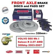 Front Axle Brake Pads + Discs 330mm For Volvo S60 R 2.5t Awd 300bhp 2003-2007