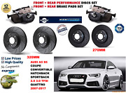 For Audi S5 3.0 Cab Con 09- Front And Rear Performance Brake Discs Set + Pads Kit