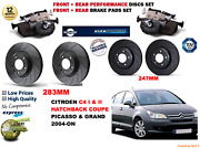 For C4 Coupe 1.6 16v 04-11 Front And Rear Performance Brake Discs Set + Pads Kit
