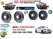 For Bmw 2 F23 Cab 2014-on Front Rear Performance Drilled Brake Discs + Pads Kit