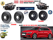 For Audi A3 S3 2.0 Hb 2012- Front And Rear Performance Brake Discs Set + Pads Kit
