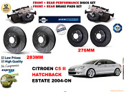 For C5 Ii 1.6hdi Est 04-on Front And Rear Performance Brake Discs Set + Pads Kit
