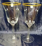 2 Wine 6 5/8 Goblet Stems Glass Lenox Clear Hayworth Gold Trim Condition Mint