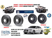 For Audi A3 2013-on Front Rear Performance Drilled Brake Discs Set + Pads Kit
