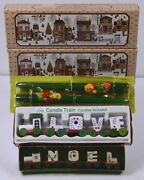 4 Vintage Christmas Candles 2- Sets Of Dog And Cat Love Candle And Noel Train