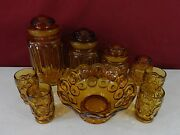 L.e. Smith Glass Amber Moon And Stars Canistar Set + Bowl And 4 Glasses
