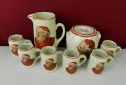 Hall Monk Tankard / Pitcher And 6 Mugs And Pretzel / Biscuit / Cookie Jar