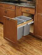 Double 2 X 35 Qt Wood Waste Bin Pull-out System Top Mount With Soft-close Natura