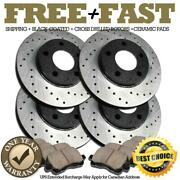 H0414 Front+rear Black Drill Brake Rotors Pads For 2000 2001 Ford F150 2wd 5lug