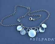 New Silpada N1830 Israel Mother Of Pearl Disc Adjustable Necklace 17 + 2