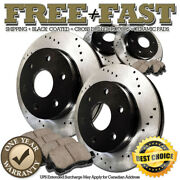 H0810 Front+rear Black Drill Brake Rotors Pads For 2007 2008 2009 Buick Enclave
