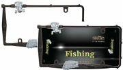 2 Premium Custom Fishing Black Fish And Rod License Plate Tag Frames For Car-truck