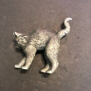 Franklin Mint Curio Cabinet Cats Collections 1986 Metal Arched Back Cat Figurine
