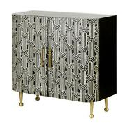 Bone Inlay Black Antique Side Table In White And Black Color Free Shipping