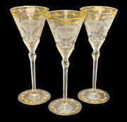 3 Moser Cut Glass And Gilt Drink-ware Service Large Wine Goblets