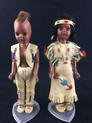 2 Vintage Native American Indian Boy And Girl Celluloid Dolls Pristine