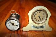 Lot Of 2 Early Antique Bedside Desk Clocks Ansonia