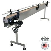 Fortex Stainless Steel 8and039 X 4.5andrdquo Inline Packaging Conveyor With Table Top Belt