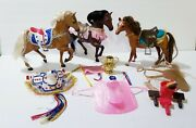 Vintage Grand Champion Toy Horse Lot With Accessories Saddles Blankets Trophy