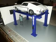 118th Scale Blue 4 Post Model Car Lift For Garage Diorama 1/18th Scale