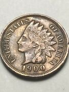 1900 Indian Head Cent Penny Xtra Fine Xf W/full Liberty And Partial Diamonds V67