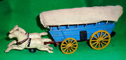 Covered Wagon W/ 2 Horse Team And Cloth Cover Vintage Nice Original Condition