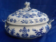 Brown Westhead Moore Meissen Blue Onion Scalloped Oval Serving Bowl Or Tureen