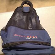 Navy Blue Mesh Beach Bag Backpack ' Turning Up The Heat In Miami Beach' Os Nwot